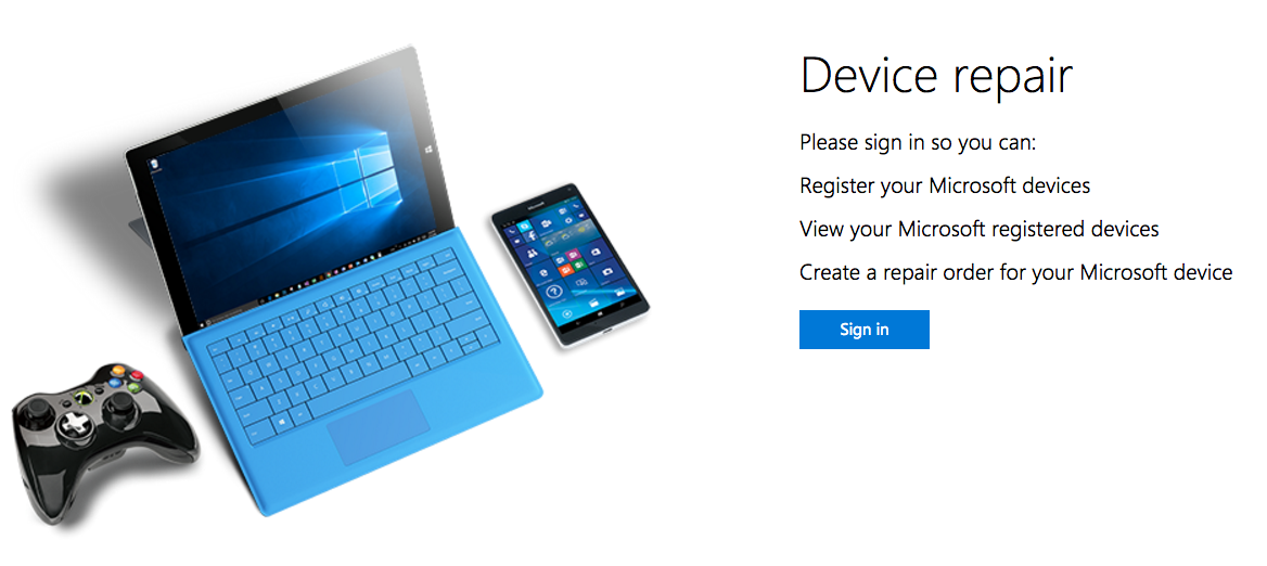 Microsoft Device Reg Page