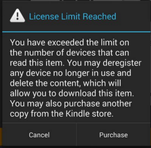 Amazon license limit
