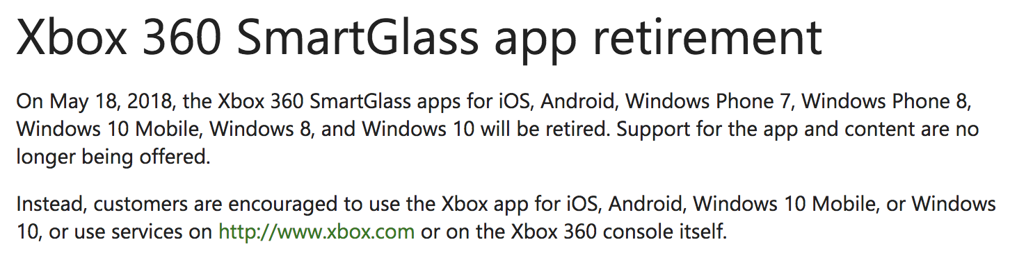 Xbox 360 SmartGlass Retired - Via Xbox - Tech Geek and More