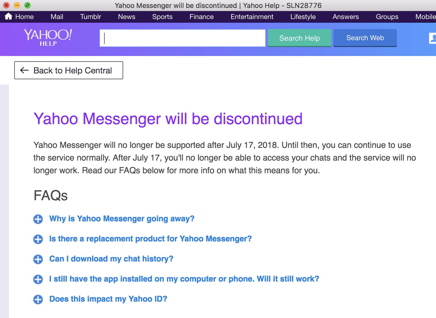 Yahoo IM App Dead