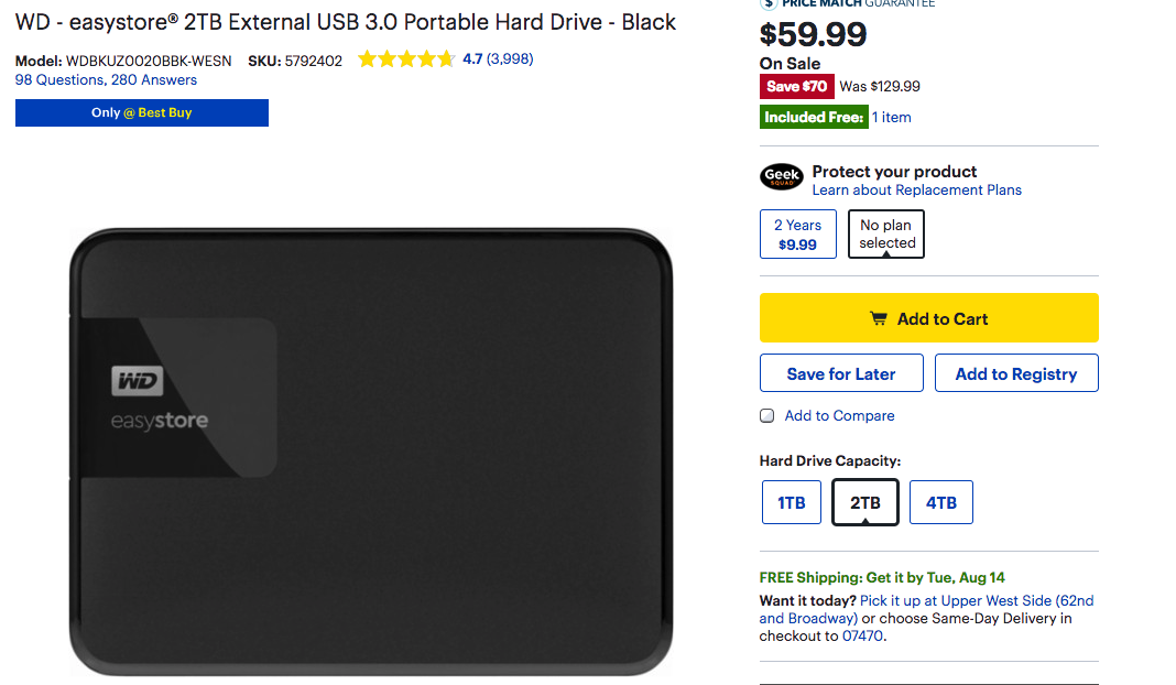 WD HD Best Buy Deal