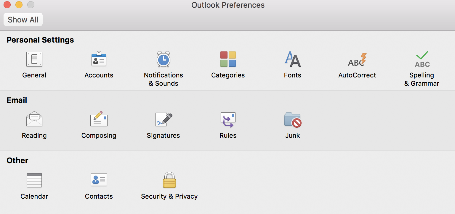 Mac outlook preference