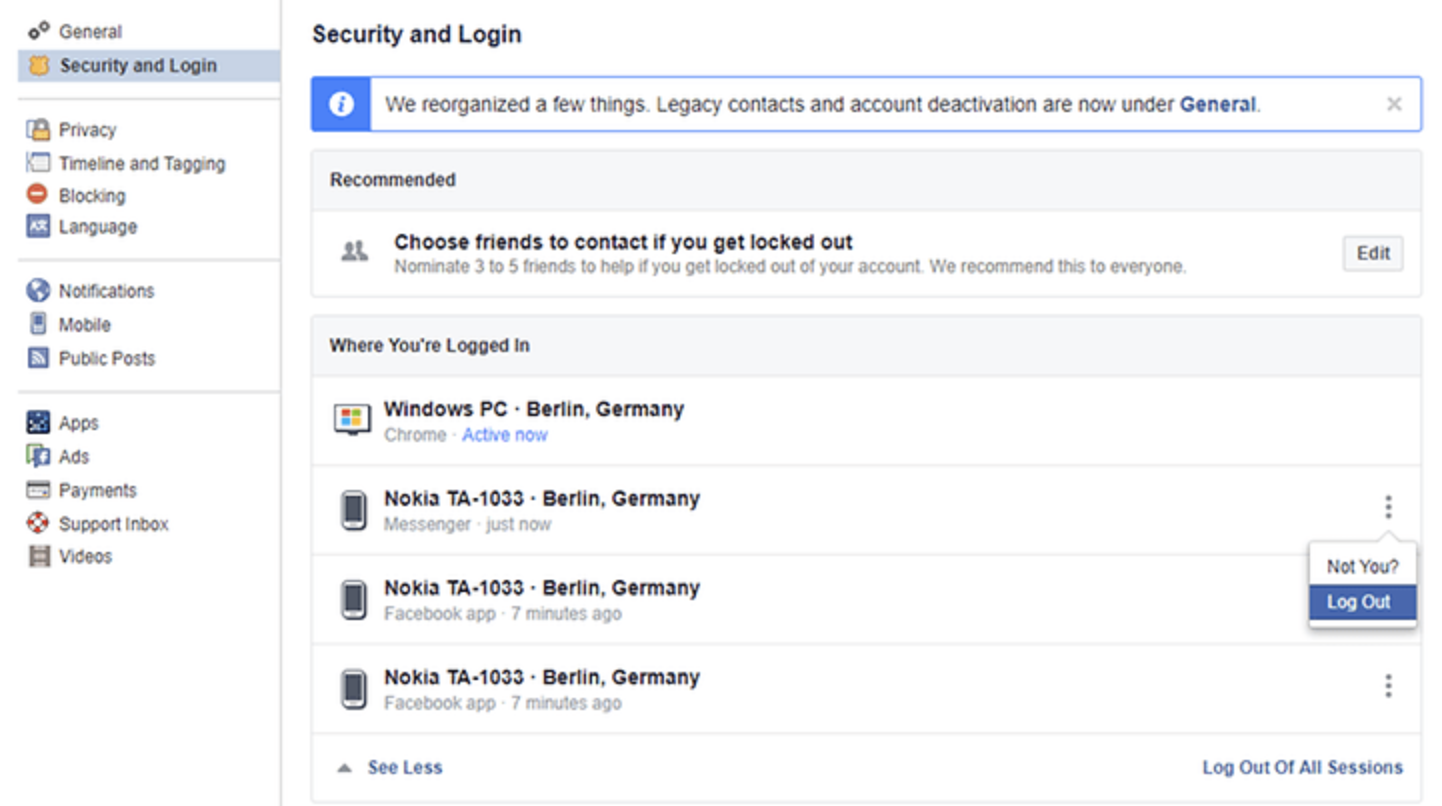 FB Security and Login Setting