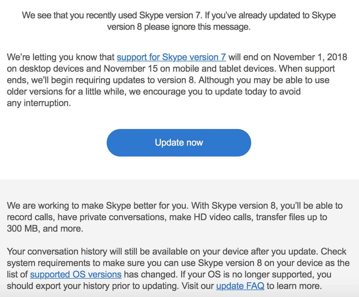 Skype 8 upgrade notice
