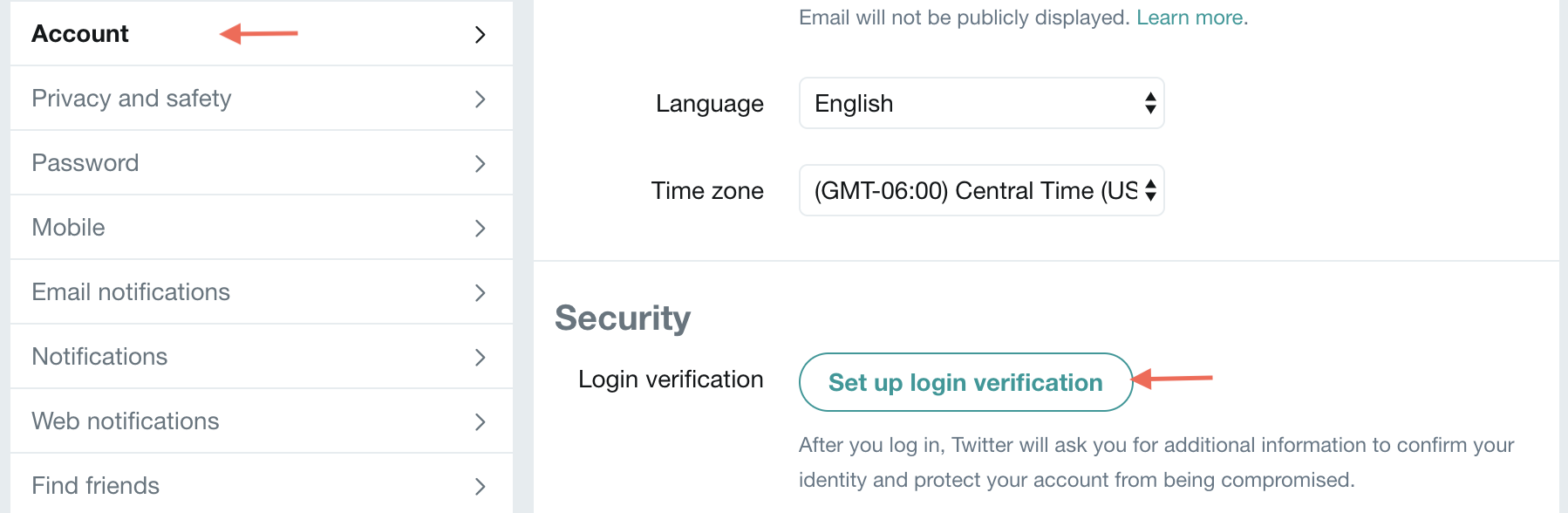 Twitter Acct Settings page
