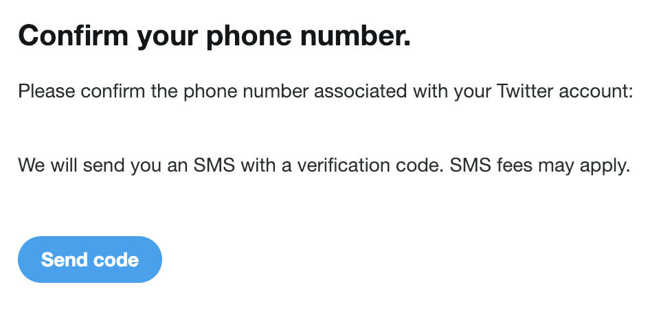Twitter confirm phone code