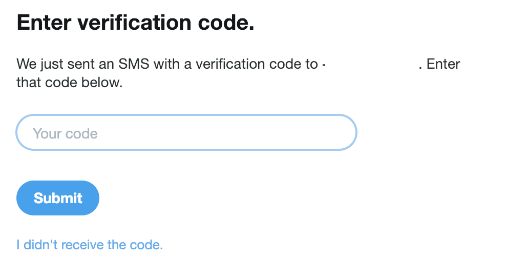 Twitter sms code