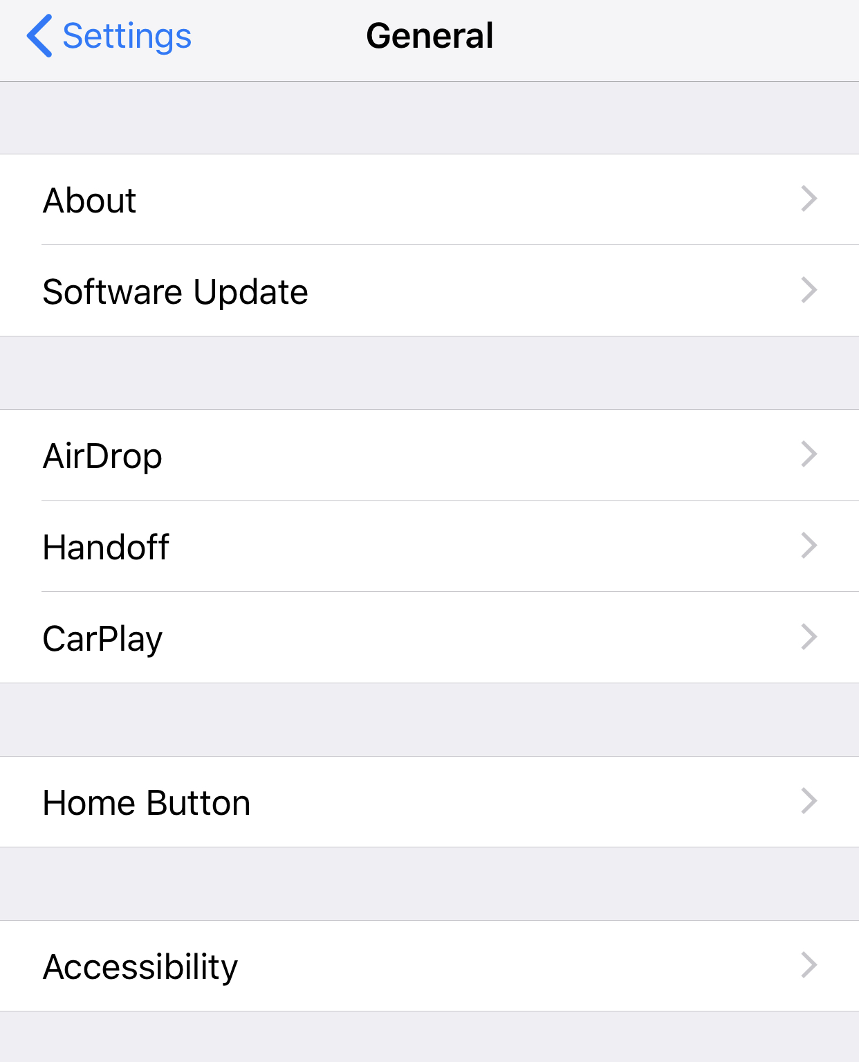General settings iOS