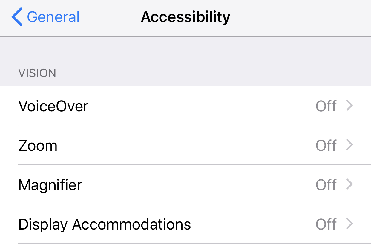 iOS accessibility screen