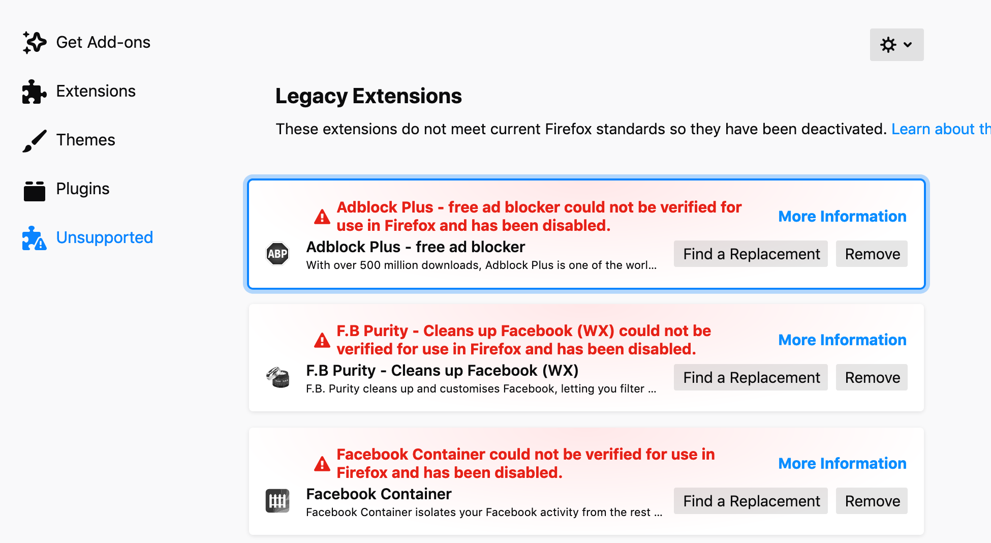 Firefox Addons Unsupported