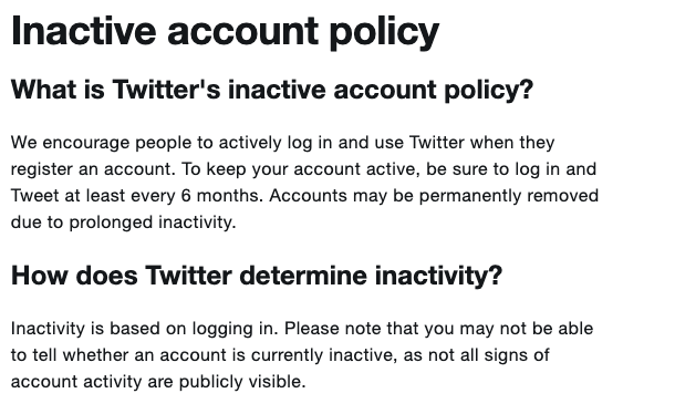 Twitter Inactive account policy
